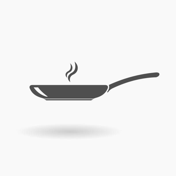 Frying Pan Icon Illustration silhouette. Cooking preparing food menu concept. frying pan stock illustrations