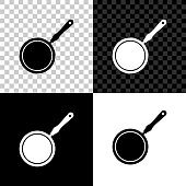 Frying pan icon isolated on black, white and transparent background. Vector Illustration
