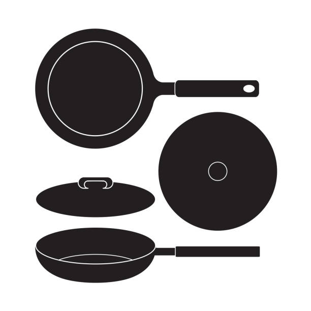 Frying Pan icon Vector Illustration. Flat Sign Frying Pan icon Vector Illustration. Flat Sign isolated on White Background. kitchenware department stock illustrations