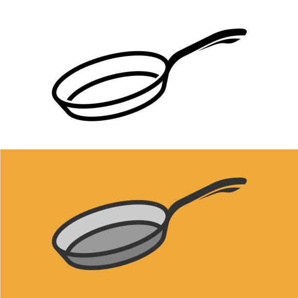 Frying pan symbol. Cooking iron pan sign. Frying pan symbol. Cooking iron pan sign. Empty pan black icon. frying pan stock illustrations