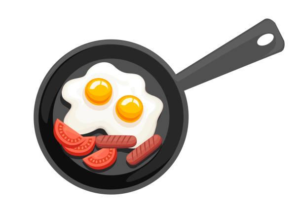 bildbanksillustrationer, clip art samt tecknat material och ikoner med stekpanna, ovanifrån. panorera med stekt ägg, tomater och korv. flat vektorillustration isolerade på vit bakgrund - frying pan