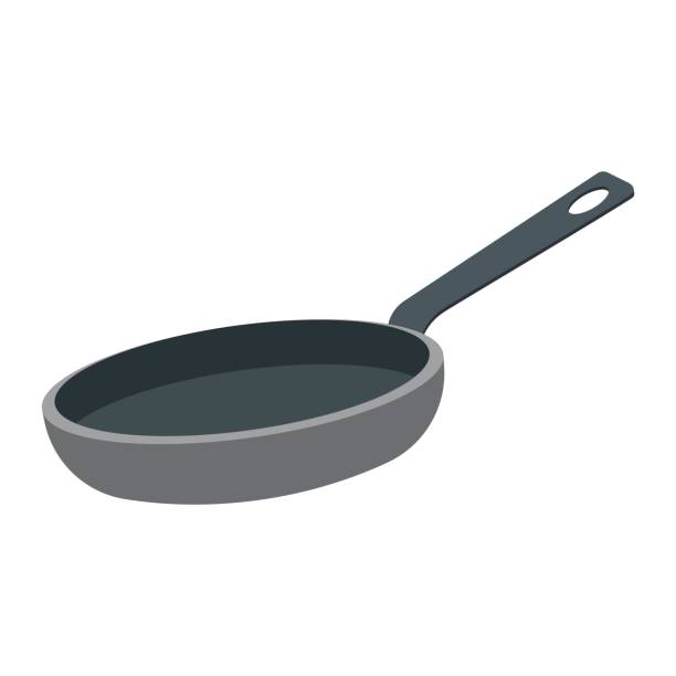 frying pan vector illustration Frying pan isolated on a white background. Vector illustration. frying pan stock illustrations