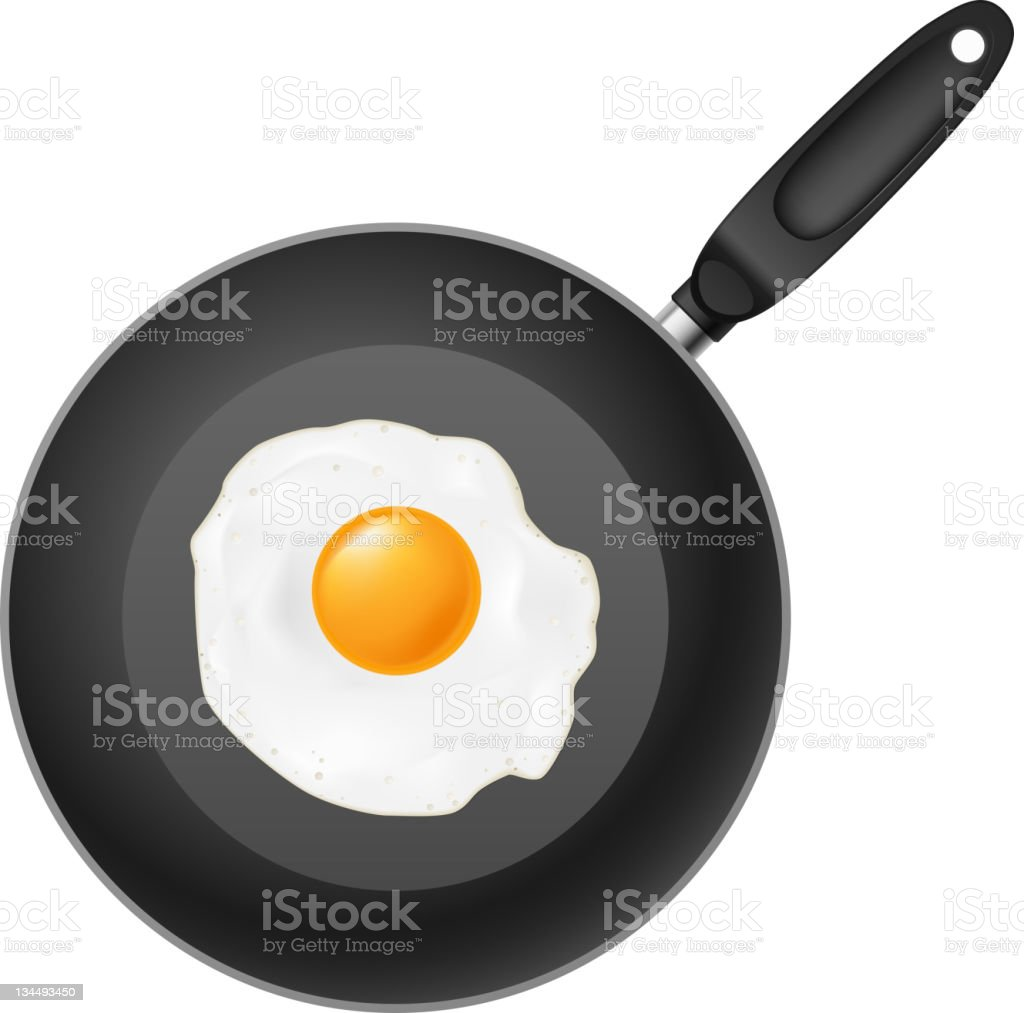 Frying pan with egg. royalty-free frying pan with egg stock vector art & more images of black color