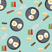 Frying pan With Eggs Breakfast Foods Seamless Pattern