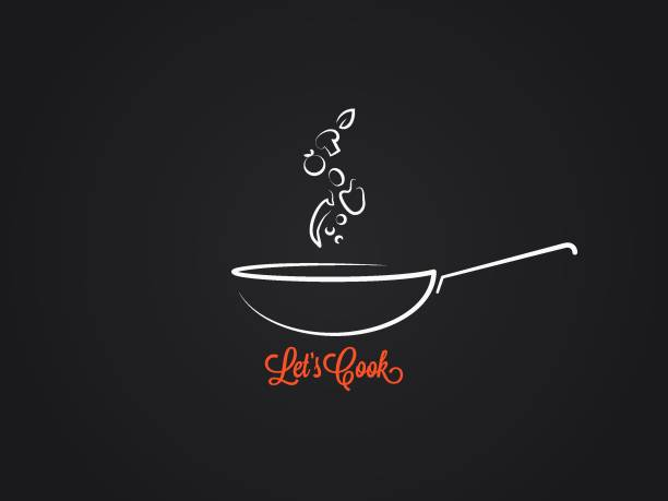 frying pan with food ingredients on black background frying pan with food ingredients on black background 8 eps cooking designs stock illustrations