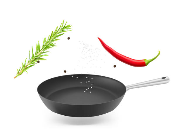 bildbanksillustrationer, clip art samt tecknat material och ikoner med stekpanna med rosmarin och peppar. - frying pan