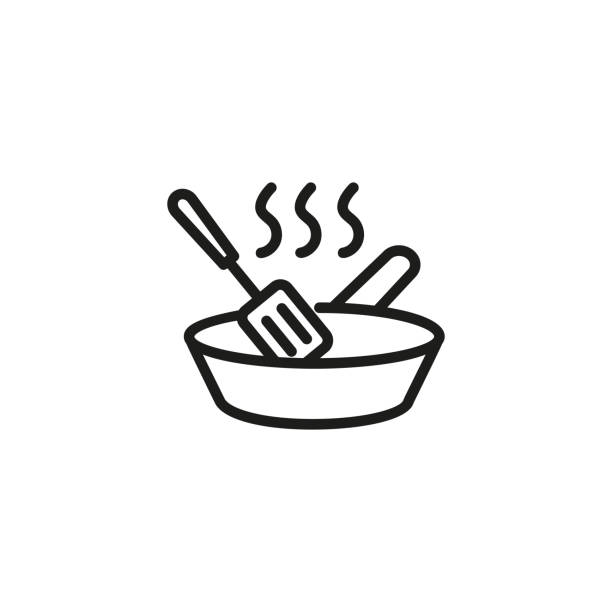 Frying pan with spatula line icon Frying pan with spatula line icon. Baking, food preparation, kitchen. Cooking concept. Vector illustration can be used for topics like food, culinary, housework frying pan stock illustrations
