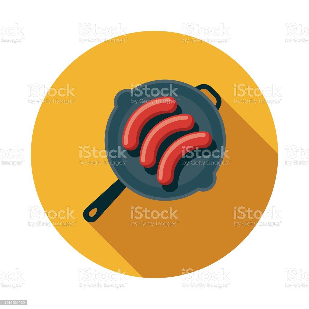 Frying Sausages Flat Design Breakfast Icon vector art illustration