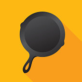 Vector illustration of a frying skillet against a yellow background in flat style.