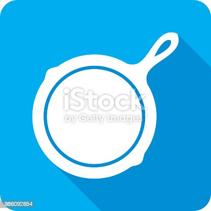 Vector illustration of a blue frying skillet icon in flat style.