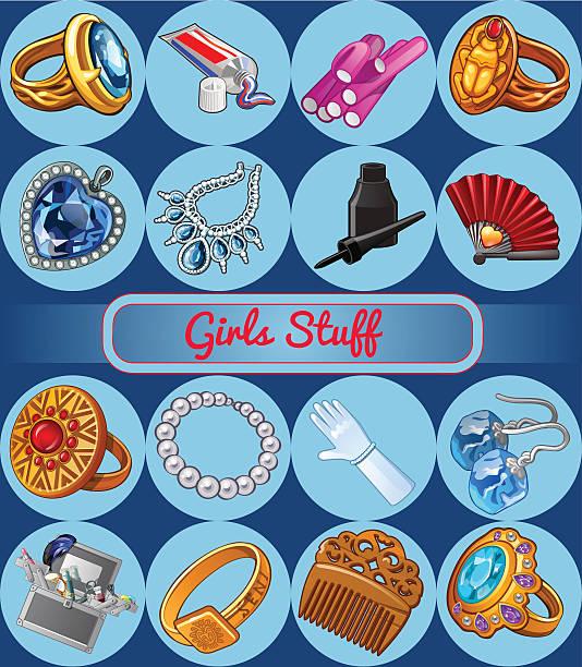 verschiedene fshion schmuck und accessoires - glasohrringe stock-grafiken, -clipart, -cartoons und -symbole