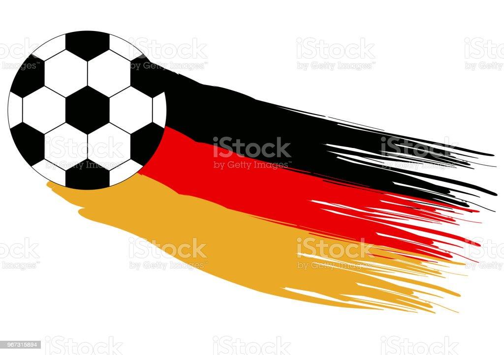 Fussballdesign Fur Deutschland Mit Fussball Und Flagge Stock
