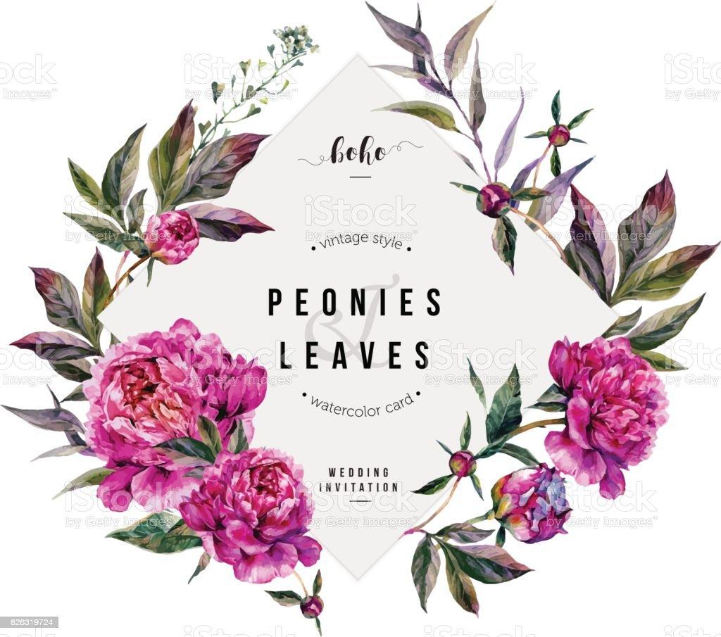 Fuchsia Peonies Greeting Card