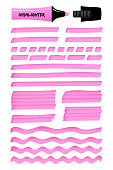 Highlighter permanent pen hand drawn objects set. Pink hand drawings with solid lines, wavy strokes, dotted stripes, and highlight marker sketchy rectangles. Vector illustration for reminder note.