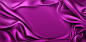 Fuchsia silk draped fabric background. Luxurious folded glossy textile frame with smooth center, cover decoration for promo poster, advertising banner, cover design. Vector 3d realistic illustration