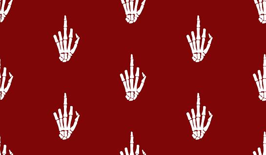 Fuck gesture sign, rentgen hand bones seamless pattern design. Skeleton hand background.  Funny tattoo old school print, wrapping paper, fabrics, branding, cloth print