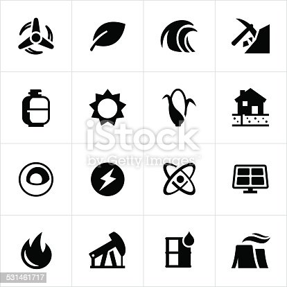 Icons representing forms and sources of fuel and energy. Coal, oil, electricity, nuclear, biofuel, geothermal, solar, wind.