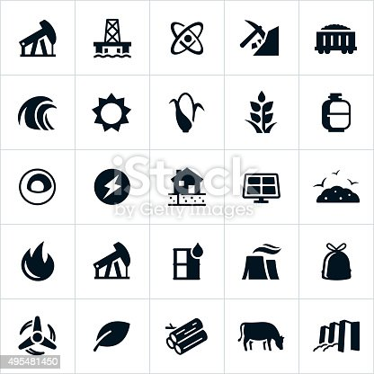 Icons representing forms and sources of fuel and energy generation. The icons include depictions of petroleum, oil, nuclear energy, fossil fuel, hydroelectricity, biomass, solar, wind and alternative energies to name a few.