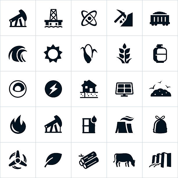 Fuel and Energy Production Icons Icons representing forms and sources of fuel and energy generation. The icons include depictions of petroleum, oil, nuclear energy, fossil fuel, hydroelectricity, biomass, solar, wind and alternative energies to name a few. tide stock illustrations