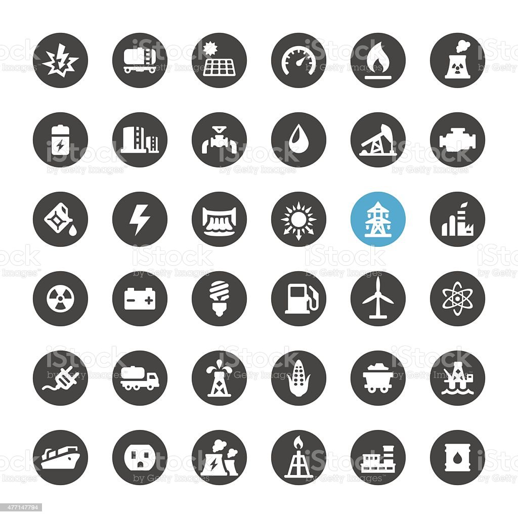 Fuel and Power Generation vector icons vector art illustration