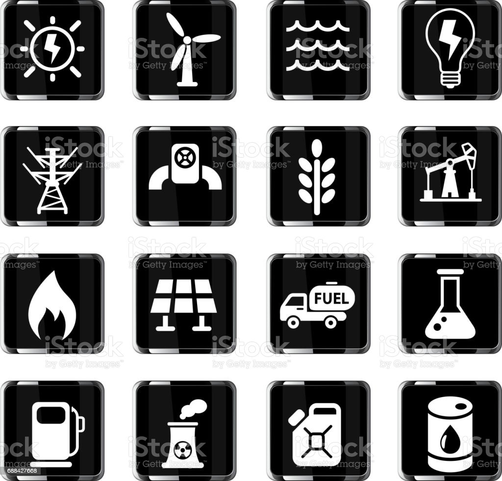 fuel and power icon set vector art illustration