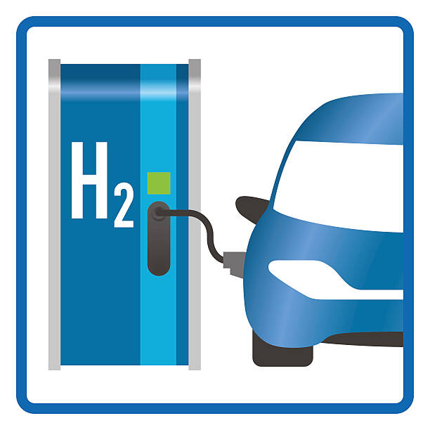 fuel cell vehicle and hydrogen filling station - wasserstoff stock-grafiken, -clipart, -cartoons und -symbole