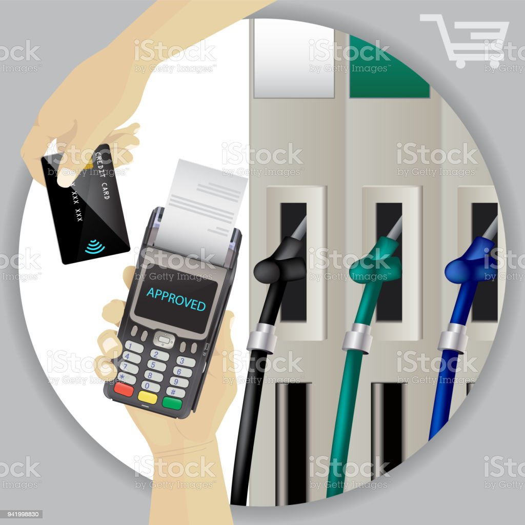 Fuel Dispenser And Fuel Nozzles At A Filling Station To Pump Petrol, Gas, Diesel. Contactless Wireless Credit Card Payment And Pos Terminal. Pay For Fuel Concept. Petrol Pumps. Vector - arte vettoriale royalty-free di Affari
