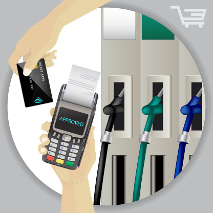 Fuel Dispenser And Fuel Nozzles At A Filling Station To Pump Petrol Gas Diesel Contactless Wireless Credit Card Payment And Pos Terminal Pay For Fuel Concept Petrol Pumps Vector - Immagini vettoriali stock e altre immagini di Affari