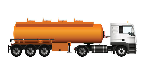 fuel gas tanker truck template. vector isolated cargo trailer - schmidt stock-grafiken, -clipart, -cartoons und -symbole