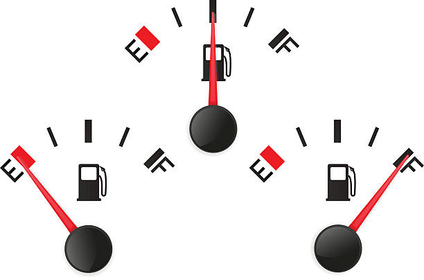 illustrazioni stock, clip art, cartoni animati e icone di tendenza di fuel gauge. empty and full - pieno