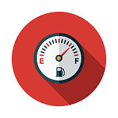Fuel Gauge Flat Design Car Service Icon
