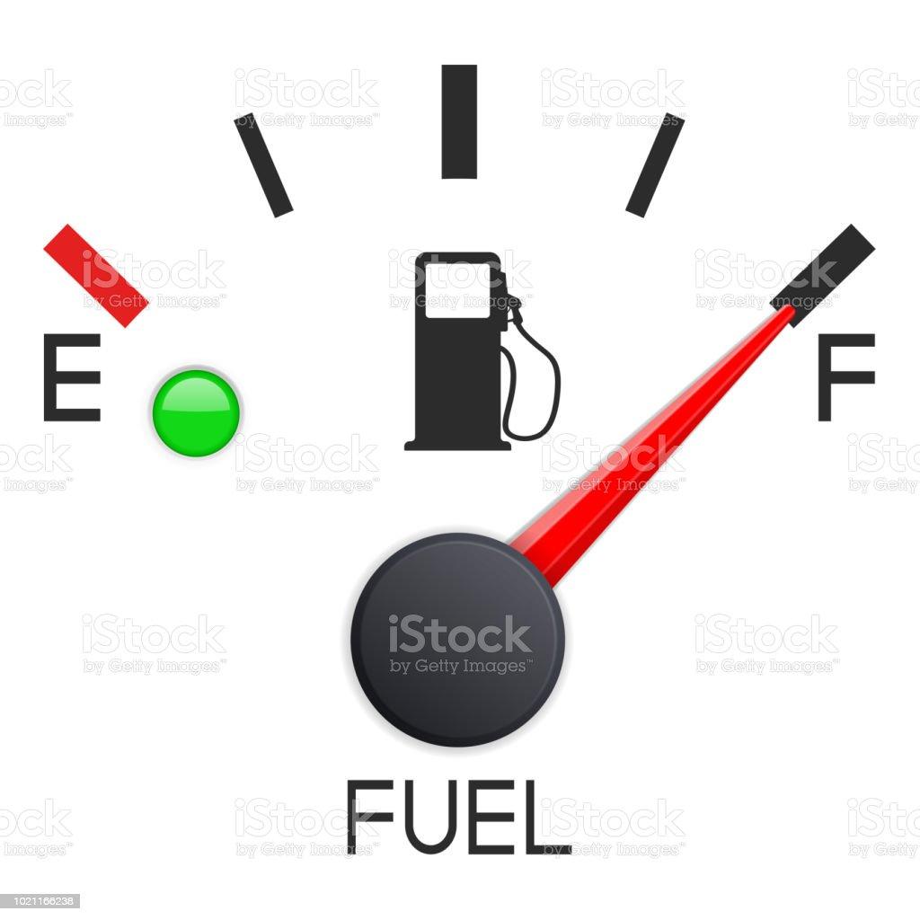 Fuel Gauge Full Tank Car Dashboard Scale Stock Illustration