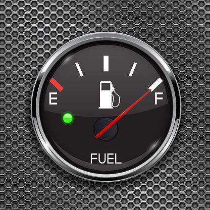 Fuel gauge. Full tank. Round black car dashboard 3d device on metal perforated background
