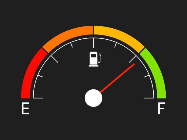illustrazioni stock, clip art, cartoni animati e icone di tendenza di misuratore del carburante. icona della benzina isolata su sfondo nero. indicatore di gas in stile piatto. barra dell'olio con elementi di colore. visualizzazione del manometro con l'icona del carburante. illustrazione vettoriale - combustibile fossile