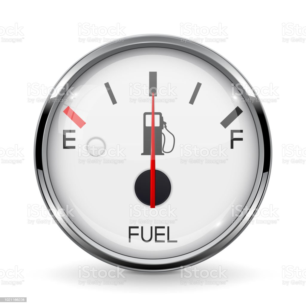 Fuel Gauge Half Tanked Round Car Dashboard 3d Device With Chrome