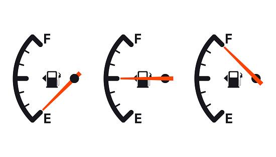 Fuel gauge icon. Gasoline indicator. Fuel indicator. Vector illustration