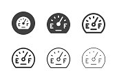 Fuel Gauge Icons Multi Series Vector EPS File.
