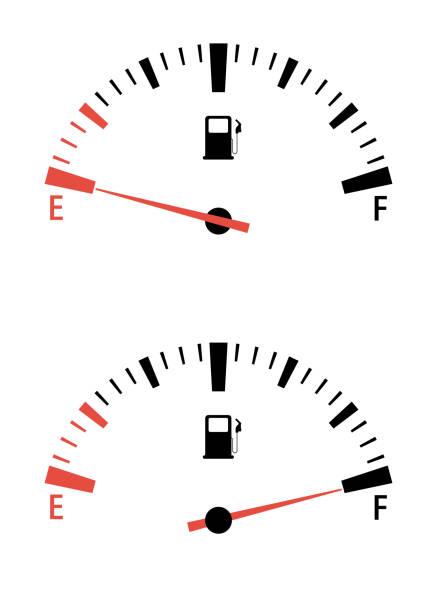 illustrazioni stock, clip art, cartoni animati e icone di tendenza di fuel gauge meter. speedometer interface motor gas gauge - combustibile fossile