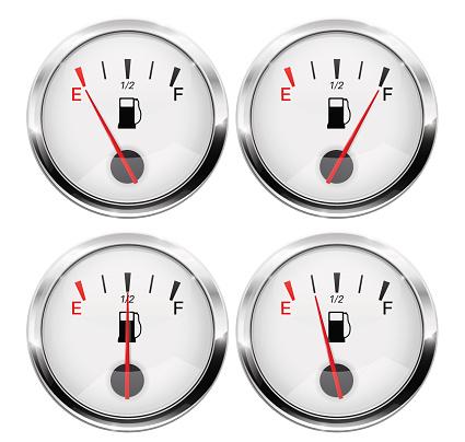 Fuel gauge. Round gauge with chrome frame