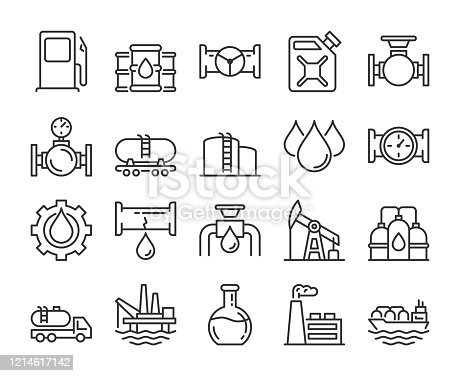 Fuel icons. Oil and gas line icon set. Vector illustration. Editable stroke.