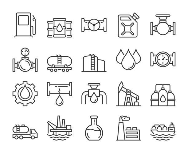 Fuel icons. Oil and gas line icon set. Vector illustration. Editable stroke. Fuel icons. Oil and gas line icon set. Vector illustration. Editable stroke. oil stock illustrations