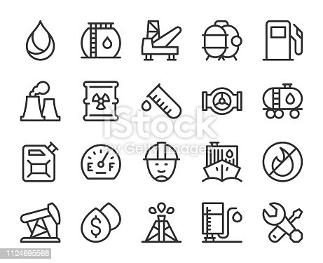 Fuel Industry Line Icons Vector EPS File.