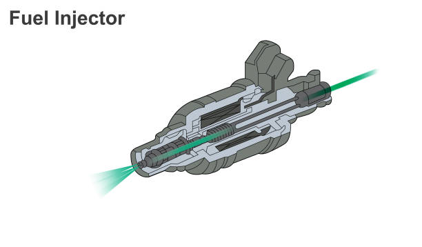 Fuel injection is the introduction of fuel in an internal combustion engine, most commonly automotive engines, by the means of an injector. vector art illustration