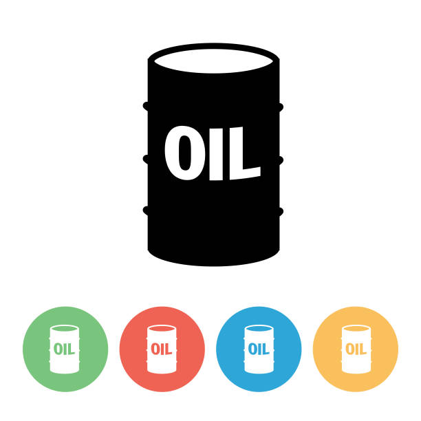 Fuel Oil Industry Icon With Circle Bases - Oil Drum Flat design style fuel and power industry icon oil drum stock illustrations