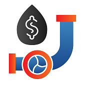 Fuel pipe with drop line icon. Pipeline leak with dollar sign. Oil industry vector design concept, outline style pictogram on white background