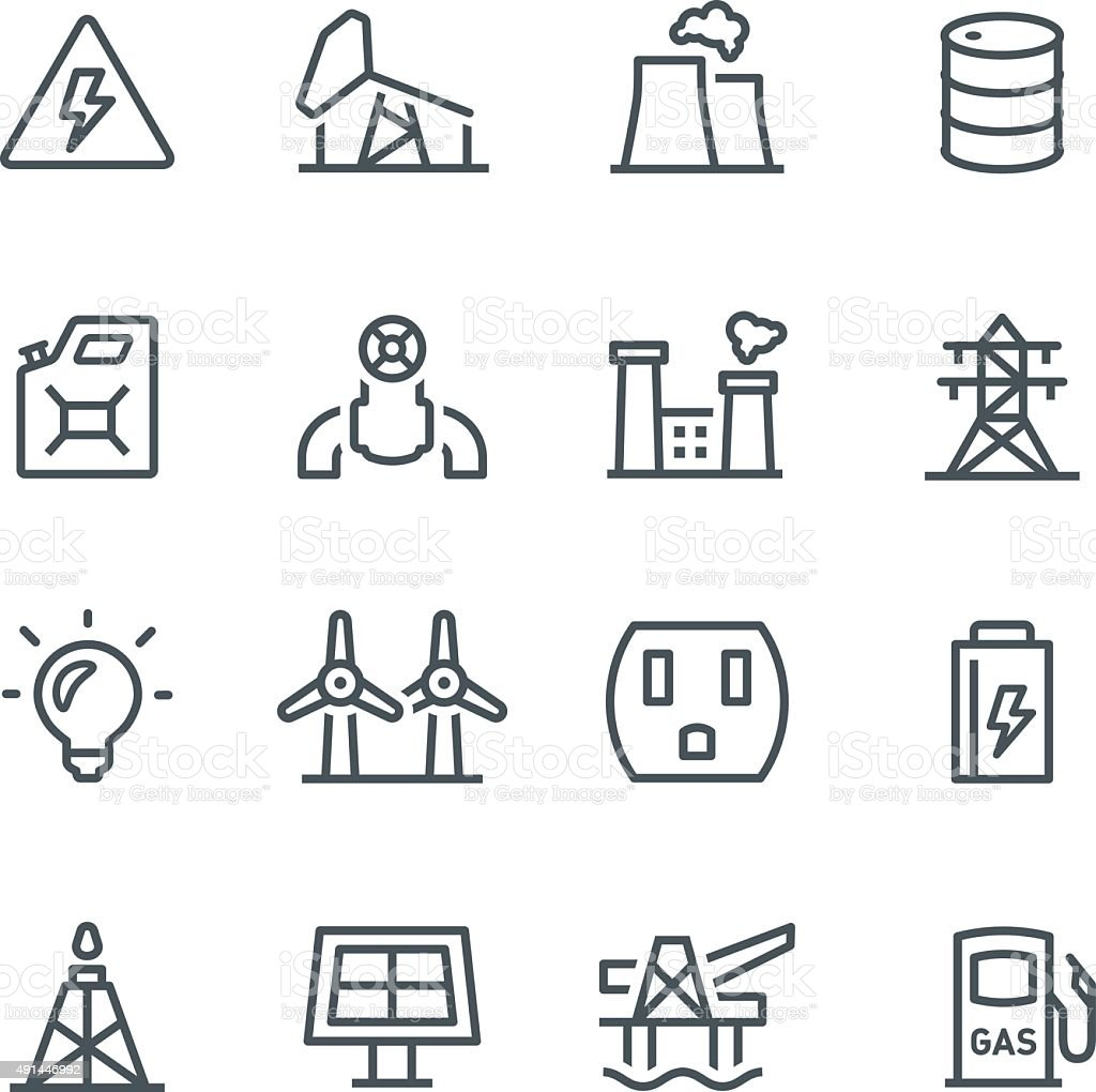 Fuel & Power Generation Icons vector art illustration