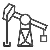 Fuel production line icon. Fossil rig, extraction gas process. Oil industry vector design concept, outline style pictogram on white background