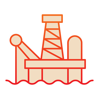 Fuel production line icon. Oil tower at sea, extraction gas process. Oil industry vector design concept, outline style pictogram on white background.