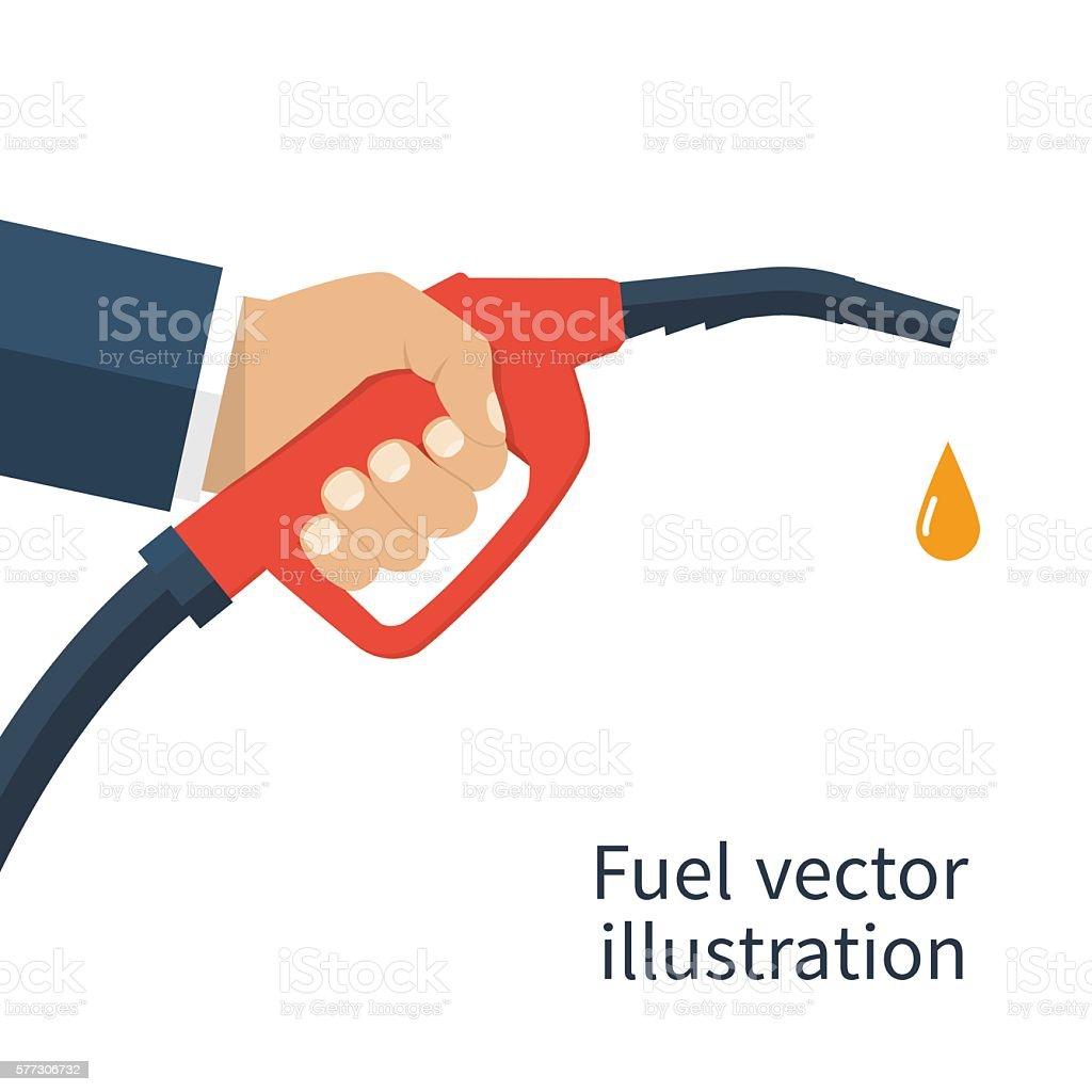 Fuel pump in hand vector art illustration