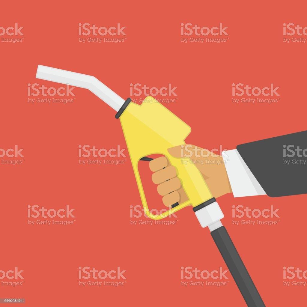 Fuel pump in hand. vector art illustration